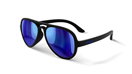 REKS Unbreakable AVIATOR Sunglasses, Anti-Reflective Lens (Satin Touch Black, Blue Mirror Polarized)