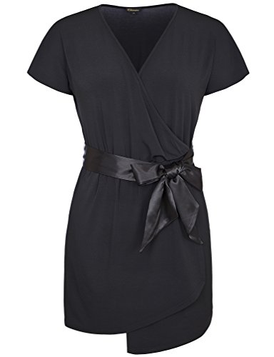 V-Neck Stretch Satin Cocktail Dress - 3