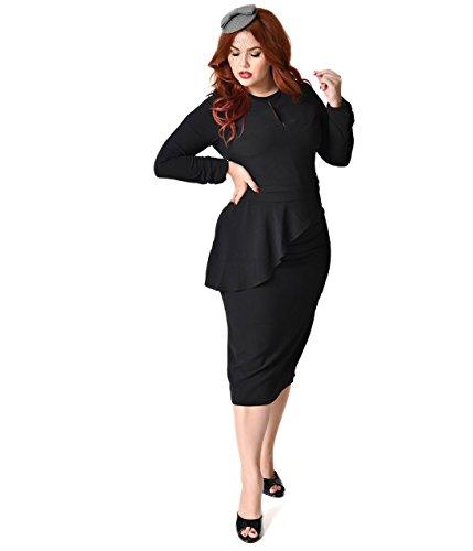 Bettie Page Plus Size Vintage Style Black Crepe Long Sleeve Christina Wiggle Dress