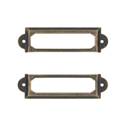Adiyer [40 Pack] Office Library File Drawer Cabinet Card Tag Label Holder Metal Frame (Antique Bronze)