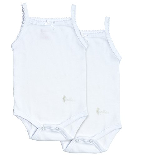 Undershirt Baby Cotton (Feathers Baby Girls Solid White 100% Cotton Super Soft Camisole Onesies 2-Pack)