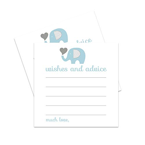 Elephant Advice and Wishes Cards - Blue and Grey - 25 Pack -