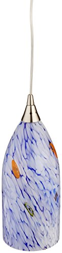 Elk 502-1BL-LED Verona 1-LED Light Pendant with Starburst Blue Glass Shade, 5 by 12-Inch, Satin Nickel Finish (Collection Pendant Verona)