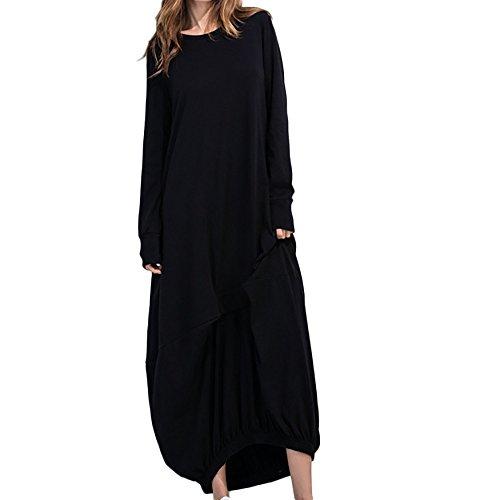 Mlide Women Long Maxi Dress,Vintage Boho Crew Neck Linen Cotton Kaftan Dress Fall Casual Baggy Long Sleeve Beach Dress,Black L