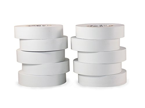 T.R.U. EL-766AW White General Purpose Electrical Tape 3/4 (W) x 66 (L) UL/CSA listed core. Utility Vinyl Synthetic Rubber Electrical Tape (10 Pack)
