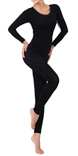 LANBAOSI Women's Lace Stretch Seamless Top & Bottom Thermal Underwear Set Black Size Free Size