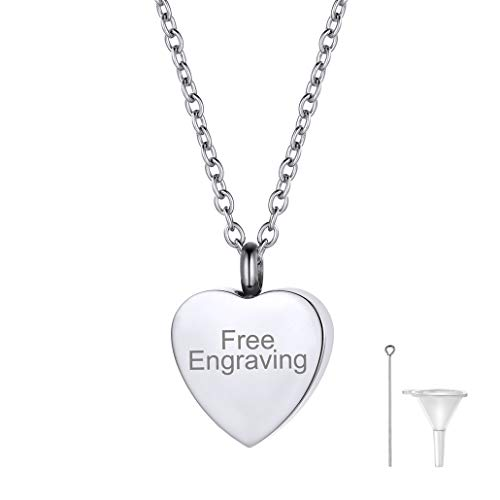 FaithHeart Engraving Cremation Urn Necklace, Women Men Stainless Steel Memento Jewelry, Pet Ashes/Perfume Heart Keepsake Waterproof Pendant Necklace for Memory (Send Gift - Name Pendant Heart