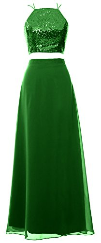 MACloth Women 2 Piece Long Bridesmaid Dress Sequin Prom Homecoming Formal Gown Verde