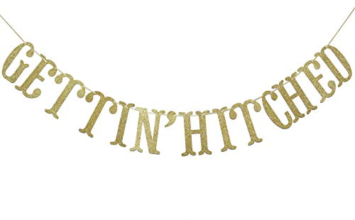 Gettin' Hitched Gold Gliter Banner, Fun Engagement, Bachelorette Party Decorations (Gold)