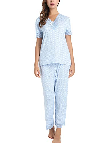 Cherrydew Women's Pjs Soft Bamboo Short Sleeve Capri Pajama Lounge Sets with Lace Trim(Blue, Small) ()