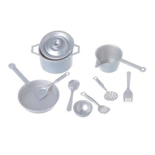 Kofun 10 Pieces Mini Tableware, 1:12 Fork Pot Kitchen Set Food Toys Dollhouse Miniature Dolls Accessories Silver