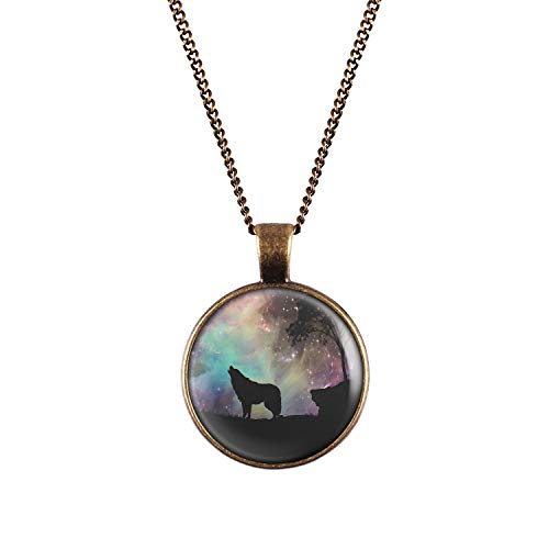 Mylery Necklace Cabochon Picture Wolf Space Star Tree Bronze 1.1 inch]()