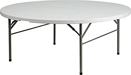 flash furniture 72 round bi fold granite white plastic folding table