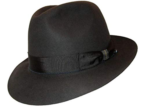 Borsalino Beaver Fur Felt Hat - Dark Grey Medium Brim - Charcoal Grey - 59 (Borsalino Fedora Hats For Men)