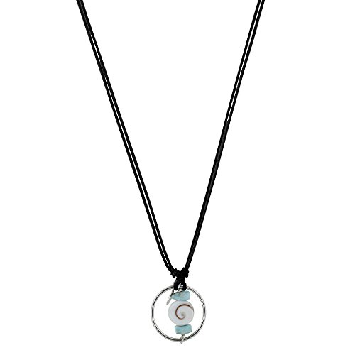 Les Poulettes Jewels - Necklace Cotton Link Silver Ring Two Larimar Nuggets and Eye of St. Lucia - Black ()