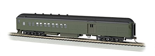 Bachmann Industries Painted Unlettered Pullman Green 72' Heavyweight Combine Car with Lighted Interior