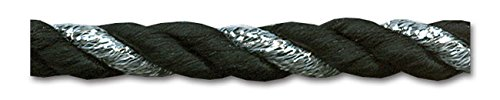 BLACK/SILVER 6MM TWIST CORD 10 Yards (Cord Twist Satin)