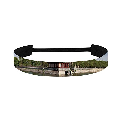 """C COABALLA Ancient China Decorations Simple Sports Headband,Historical Architecture Imperial Palace Trees Sea Blue Sky Decorative for Sports,15"""" W x 1.1"""" H"""