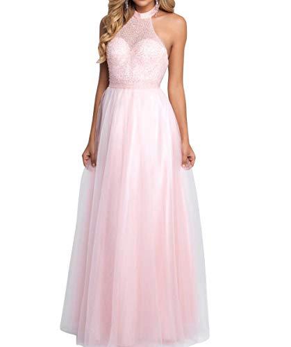 Lang Brau A Romantisch Linie Prinzess Tuell mia Neckholder Abendkleider Hell Ballkleider Rosa Abschlussballkleider Partykleider La fwqpFp