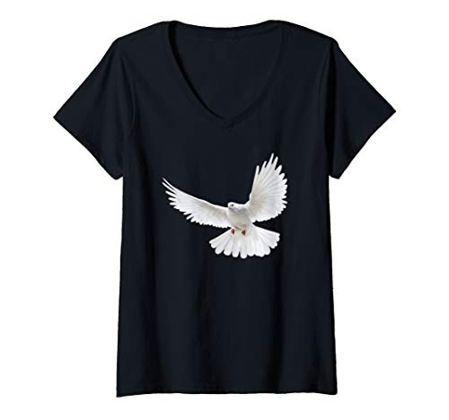 Womens Beautiful Flying Peaceful White Dove Photo Silhouette V-Neck T-Shirt