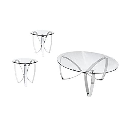 Amazon Com Home Square 3 Piece Glass Coffee Table Set With Set Of 2