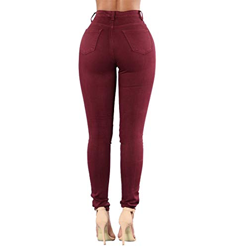 Haute Taille Stretch Long Skinny Taille Jeans Distressed dchir Red Haute Jean Femme Amabubblezing 4wqEtI4