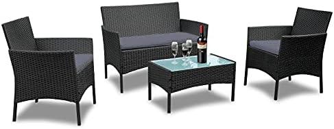 UISEBRT Gartenmöbel Poly Rattan Balkonmöbel Sitzgruppe Lounge Set – Mit 2-er Sofa, Singlestühle, Tisch und Anthrazit Sitzkissen