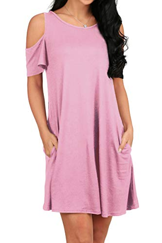 OFEEFAN Women Side Pockets Solid Color Flowy Swing Tshirt Dress Plus Size Pink S ()