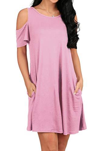 OFEEFAN Womens Oversized Tunic Shirt Loose Casual Dress Pink -