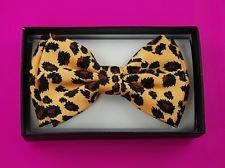 Orange Leopard Tuxedo Bow Tie Pre Tied Plastic Clip Unisex
