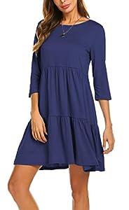 Newchoice Women's 3/4 Long Sleeve Empire Waist Loose Swing Ruffle T-Shirt Dress Pleated Mini Dress