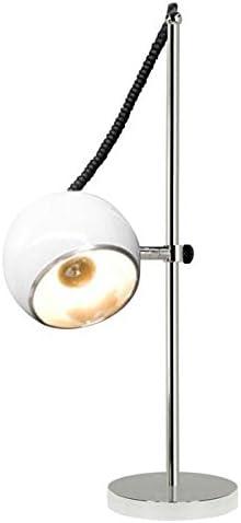 Lampe De Table Ou De Chevet Blanc Structure En Metal Chrome