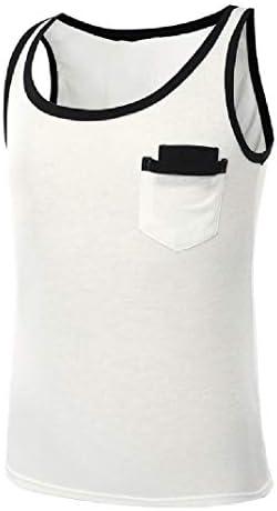 メンズノースリーブスプライシングポケットクルーネックリラックスフィットタンクトップTシャツ