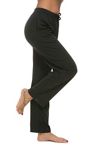 al Stretch Cotton Pajama Pants Simple Lounge Pants (L, 115#Black) ()