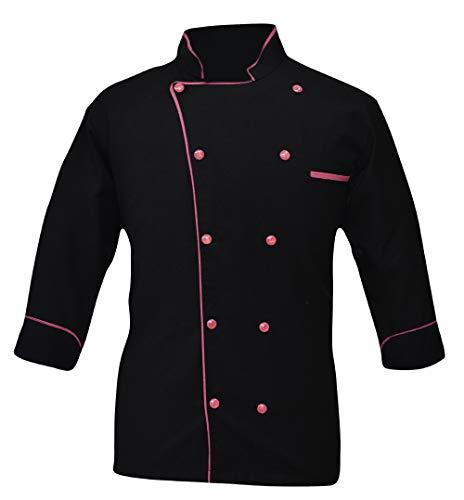 Leorenzo Creation PN-05 Men's Black Chef Coat (XXS, Pink Pn)