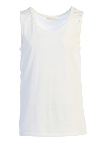 LAFSQ Unisex Plain Classic Style Premium Fine Jersey T-Shirt Tank Top, Made In USA (White, S) by LAFSQ (Image #2)