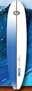 California Board Company California Board Company Surf Board, White with Blue Stripes, 9-Feet from Keeper Sports