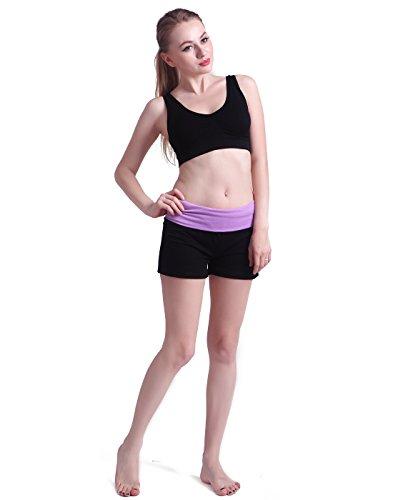 HDE Women's Yoga Workout Shorts Exercise Mini Hot Shorts, Black and Lavender, X-Large - Lavender Cotton Shorts