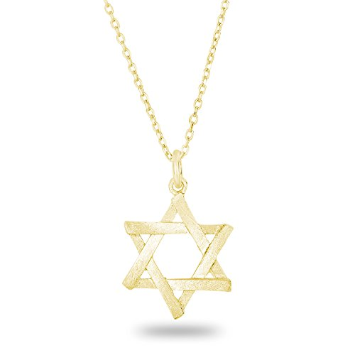 Spoil Cupid 14k Gold Plated Silver Matte Finish Brush Textured 6 Point Jewish Star David Pendant Necklace, 18""