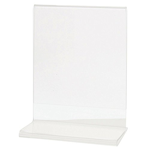 HUBERT Acrylic T-Base Sign Holder Clear Acrylic Horizontal - 4 1/4 L x 5 1/2 H by Hubert