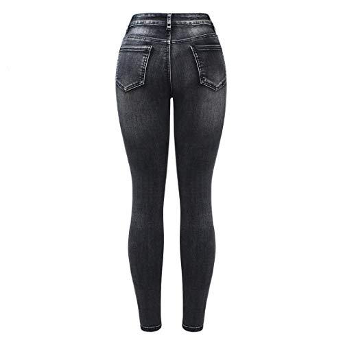 In Denim Donna Vita Black Moto Z Jeans Nero Elasticizzati Con baibao Alta Motociclista Da Zip Pantaloni A A6UZxFwqA