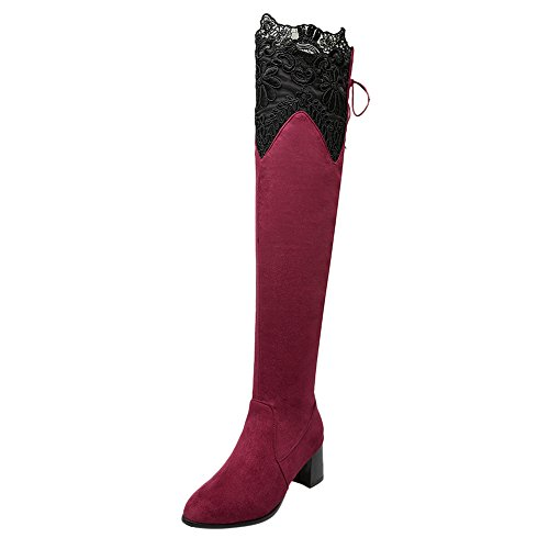 Latasa Womens Lace Pointed Toe Chunky Heels Over the Knee Dress Boots Red