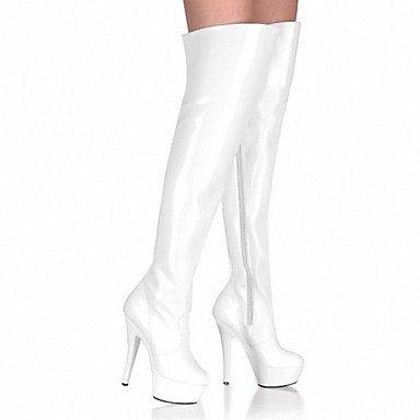 Heart&M Mujer Botas Botas de Moda PU Invierno Fiesta y Noche Cremallera Tacón Stiletto Blanco Negro 12 cms y Más white