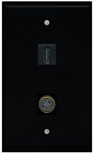 - RiteAV - Black 1 Port HDMI 1 Port S-Video Wall Plate