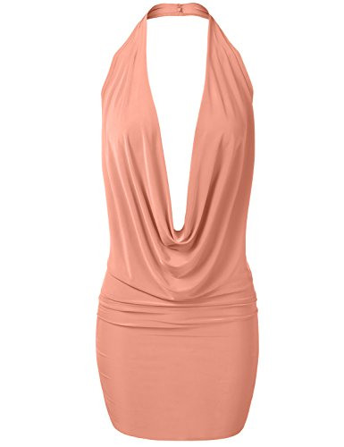 Luna Flower Women's Sexy Low Cut Plunge Halter Dress-Fitted Party Dress Peach (Sexy Peach)