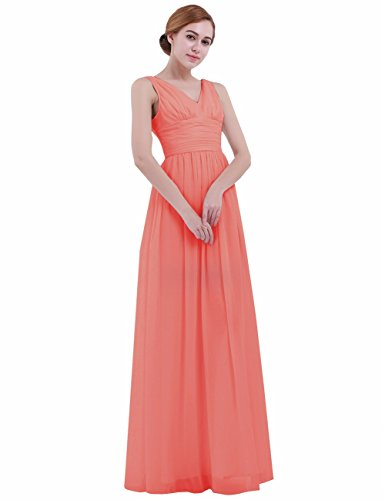 iEFiEL Women V Neck Empire Waist Chiffon Bridesmaid Dress Long Evening Prom Gown Coral Pink 12