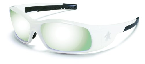Crews SR127 Swagger Brash Look Polycarbonate Dual Lens Glasses with Polished White Frame and Silver Mirror Lens