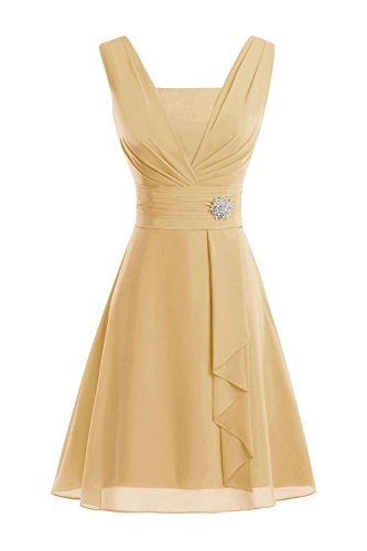 Buy gold tea length mother of the bride dress - 4
