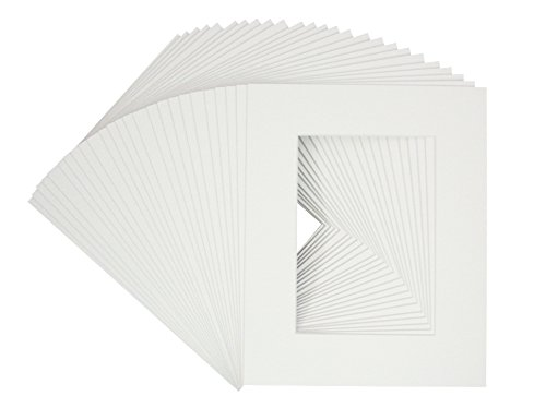 Golden State Art Pack of 25 White 8x10 Picture Mats Mattes with White Core Bevel Cut for 5x7 Photo + Backing +Bags (Backing Surface Board Archival)