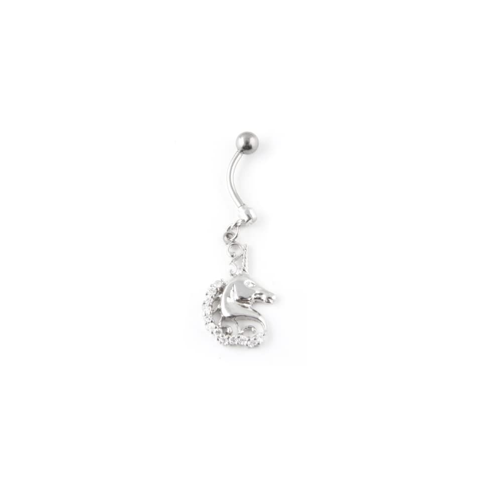 925 Sterling Silver Dangle Unicorn Belly Ring with Hand